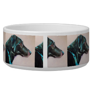 Pensive Black Dog Bowl