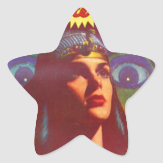 Pensive Egyptian Queen Star Sticker