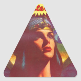 Pensive Egyptian Queen Triangle Sticker