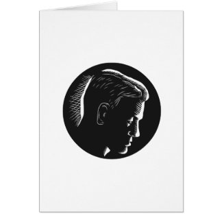 Pensive Man in Deep Thought Circle Woodcut Card