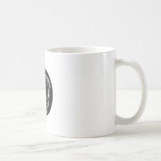 Pensive Man in Deep Thought Circle Woodcut Coffee Mug