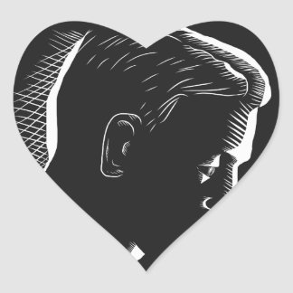 Pensive Man in Deep Thought Circle Woodcut Heart Sticker