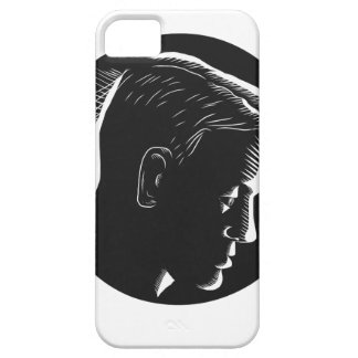 Pensive Man in Deep Thought Circle Woodcut iPhone 5 Covers