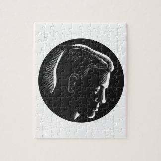 Pensive Man in Deep Thought Circle Woodcut Jigsaw Puzzle