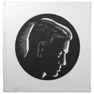 Pensive Man in Deep Thought Circle Woodcut Napkin