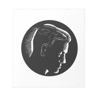 Pensive Man in Deep Thought Circle Woodcut Notepad