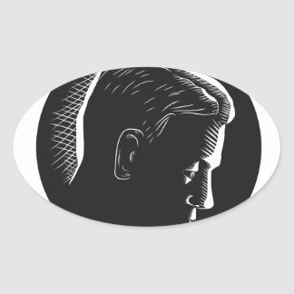 Pensive Man in Deep Thought Circle Woodcut Oval Sticker