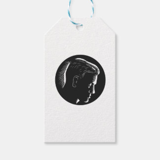 Pensive Man in Deep Thought Circle Woodcut Pack Of Gift Tags