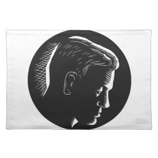 Pensive Man in Deep Thought Circle Woodcut Placemat