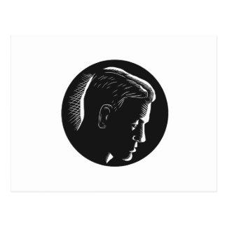 Pensive Man in Deep Thought Circle Woodcut Postcard
