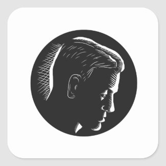 Pensive Man in Deep Thought Circle Woodcut Square Sticker