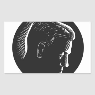 Pensive Man in Deep Thought Circle Woodcut Sticker