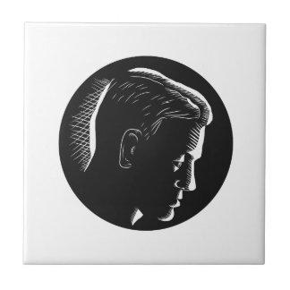 Pensive Man in Deep Thought Circle Woodcut Tile