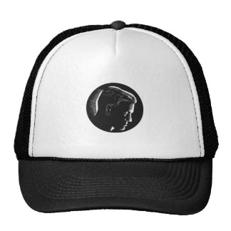 Pensive Man in Deep Thought Circle Woodcut Trucker Hat