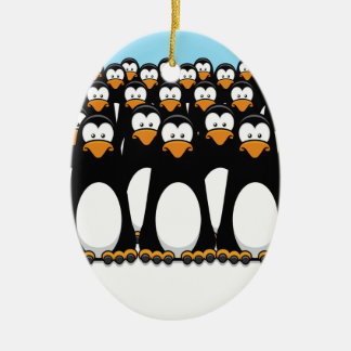 Pensive Penguin Army Ceramic Ornament