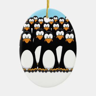 Pensive Penguin Army Ceramic Oval Ornament
