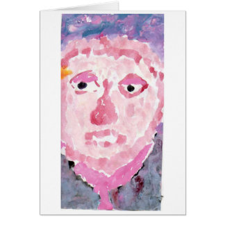 Pensive pink and purple person note card