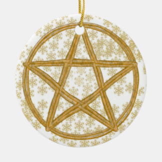 Pentacle Double Woven Wicker & Gold Snowflakes Ceramic Ornament