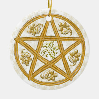 Pentacle Double Woven Wicker, Holly & Oak Round Ceramic Ornament