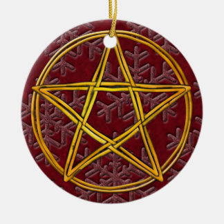 Pentacle Double Woven Wicker & Pink Snowflakes Ceramic Ornament
