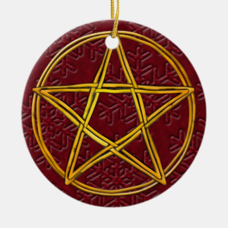 Pentacle Double Woven Wicker & Red Snowflakes Round Ceramic Ornament
