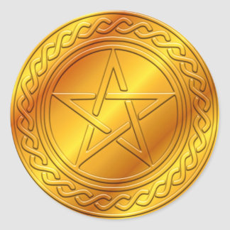 Pentacle Embossed Design Round Sticker