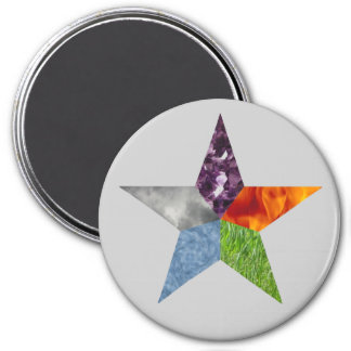 Pentacle - Grey 3 Inch Round Magnet
