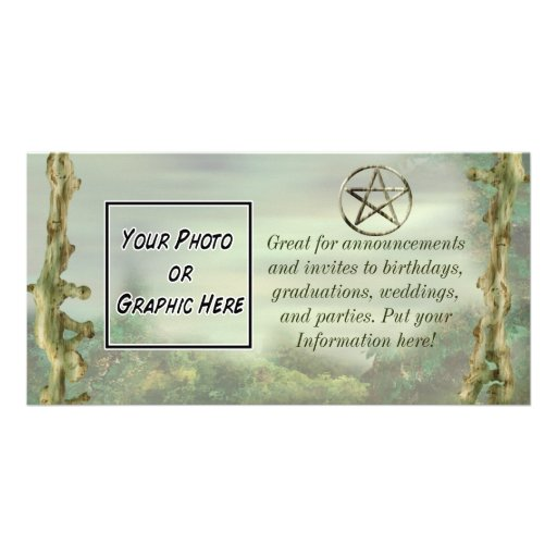 Pentacle in Wood Photo Greeting Card