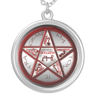 pentacle of solomon silver plated necklace