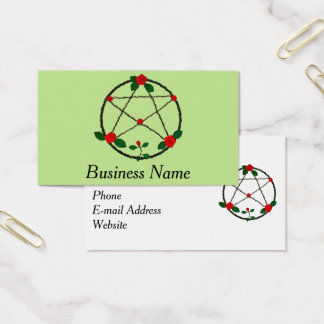 Pentacle of Vines and Red Roses Business Card