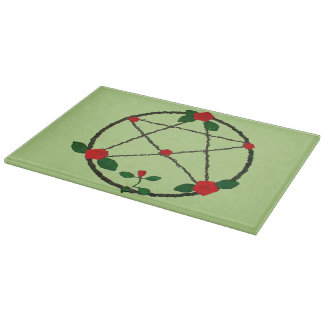 Pentacle of Vines and Red Roses Cutting Board