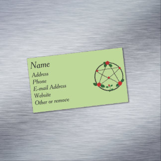 Pentacle of Vines and Red Roses Magnetic Business Card