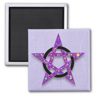 Pentacle Purple Star Wiccan or Pagan Symbol Magnet