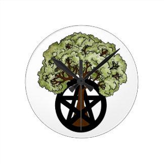 Pentacle Tree Round Clock