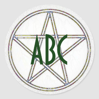 Pentacle White and Gray Initials Classic Round Sticker
