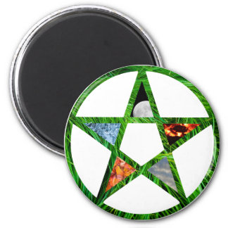 Pentacle with Elements 2 Inch Round Magnet