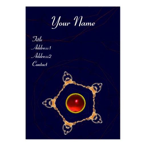 PENTAGON Monogram  red ruby ,blue Business Cards