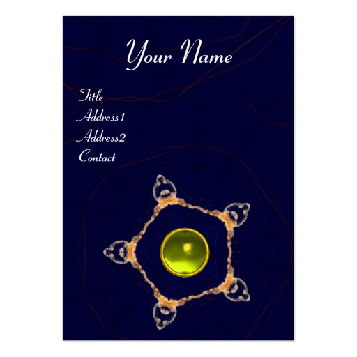 PENTAGON Monogram ,yellow topaz,blue Business Card Template