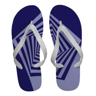 Pentagon Spiral Blues Flip-Flops