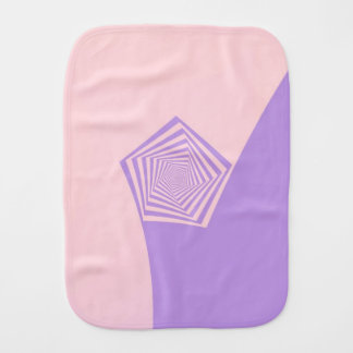 Pentagon Spiral in Pale Pink and Lavender Baby Burp Cloth