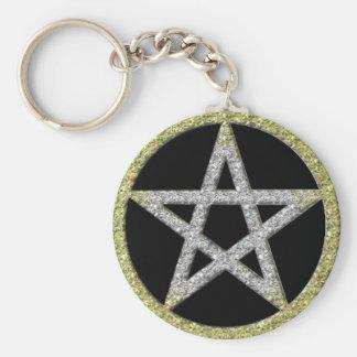 Pentagram Bling Gold Diamond looking Keychain