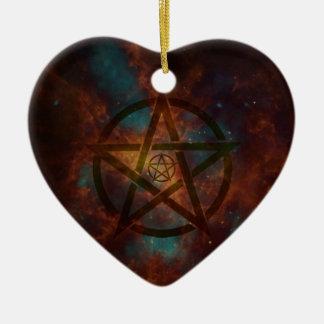 Pentagram Ceramic Heart Ornament