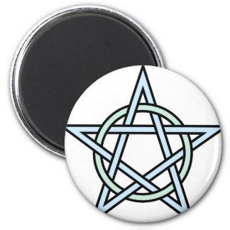 Pentagram-circle-interlaced 2 Inch Round Magnet
