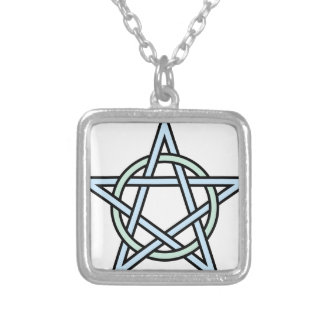 Pentagram-circle-interlaced Silver Plated Necklace