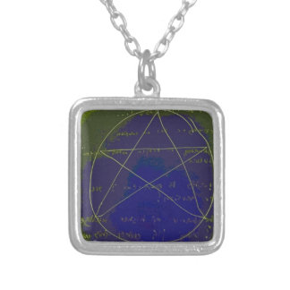 pentagram dark magic circle ritual silver plated necklace