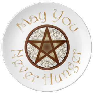 "Pentagram & Gold ""May You Never Hunger"" Plate 2 Porcelain Plate"