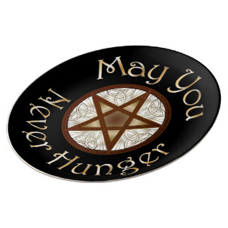 "Pentagram & Gold ""May You Never Hunger"" Plate Porcelain Plate"
