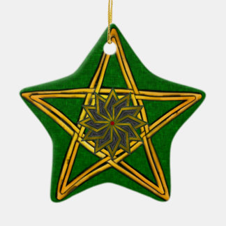 Pentagram - Gold, Red & Green Ornament for Yule