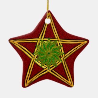 Pentagram - Gold, Red & Green Ornament for Yule 2