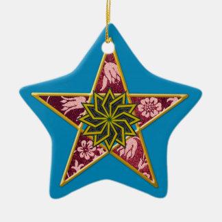 Pentagram - Gold & Red on Blue Ceramic Star Ornament